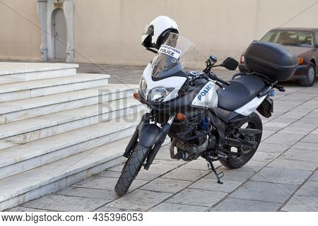 Patras, Greece - May 26 2019: Police Motorbike Outside Of Church Of Saint Andrew.