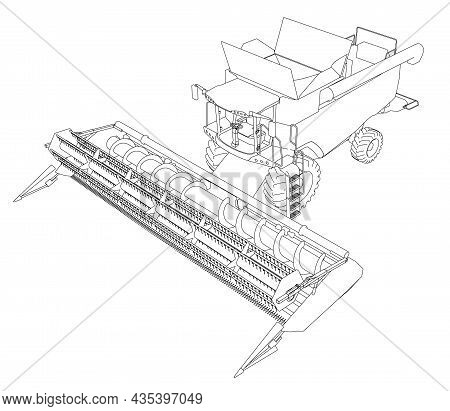 Combine Harvester Contour From Black Lines Isolated On White Background. Isometric View. 3d. Vector
