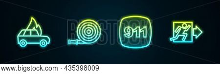 Set Line Burning Car, Fire Hose Reel, Emergency Call 911 And Exit. Glowing Neon Icon. Vector