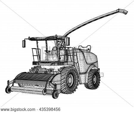 Combine Harvester Wireframe From Black Lines Isolated On White Background. 3d. Vector Illustration