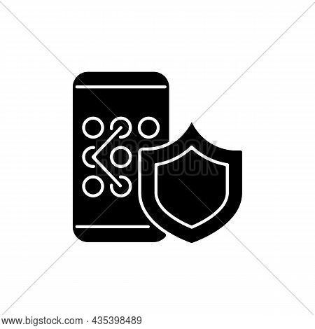 Phone Unlock Black Glyph Icon. Smartphone Safety Measures. Mobile Privacy. Safeguard For Secure Syst