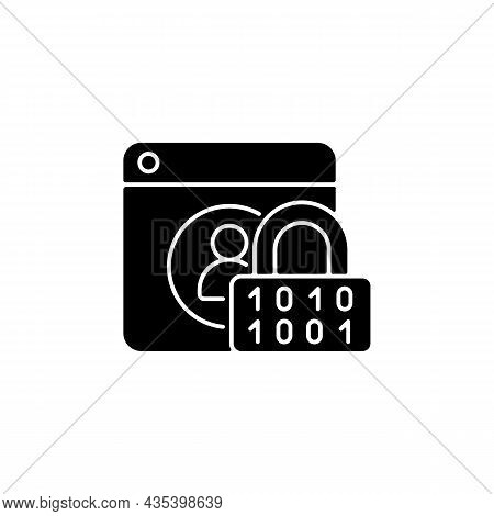 Password Encryption Black Glyph Icon. Database Control. Internet Safety Measures. Secure System. Onl
