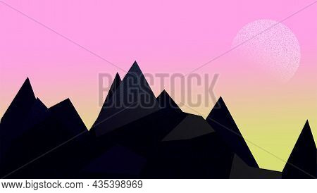 Landscape Colored Icon With Majestic Mountains And Sun Or Moon. Sunrise Illustration. Mountainous Te