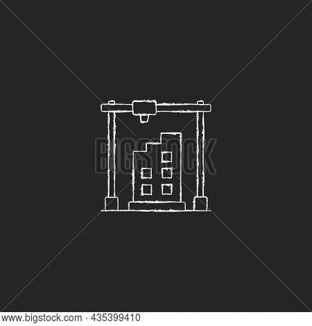 3d Printed Building Design Chalk White Icon On Dark Background. Architectural 3d Model. Housing Deve