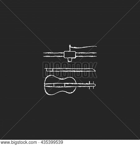 3d Printed Musical Instruments Chalk White Icon On Dark Background. Printing Acoustic Violin. Additi