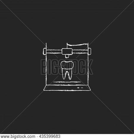 3d Printing For Dentistry Chalk White Icon On Dark Background. Dental Implants Production. Innovatio