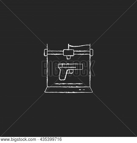 3d Firearms Printing Chalk White Icon On Dark Background. 3d Gun Fabrication. Weapon Manufacture. Mi