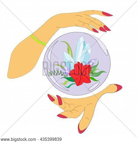 Magical, Witchcraft, Crystal Ball With Stones And A Red Flower In The Hands Of Fortune Teller, Witch
