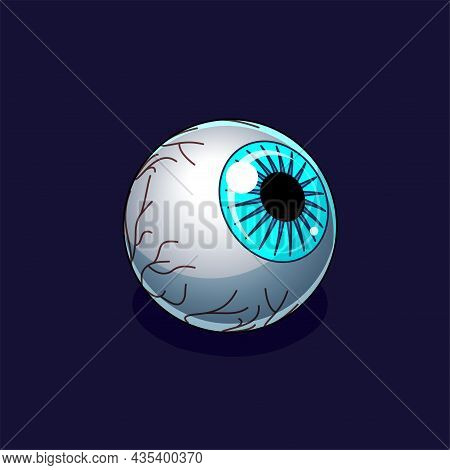 Blue Creepy Eyeball On A Dark Background. Isometric Icon. Design Element For Halloween And Horror Il