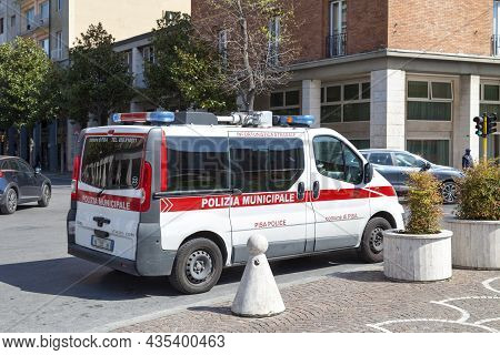 Pisa, Italy - March 31 2019: Van Of The Polizia Municipale Parked Outside The Train Station.