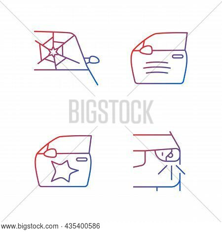 Auto Accident Types Gradient Linear Vector Icons Set. Windscreen Damage. Door Panel Dents. Paint Scr