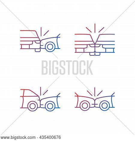 Vehicle Crashes Gradient Linear Vector Icons Set. T-bone Collision. Sideswipe Car Accident. Hitting
