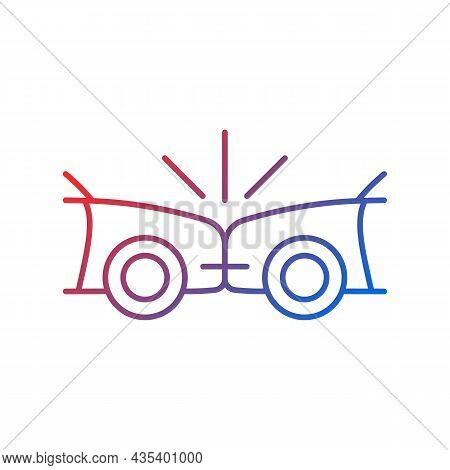 Head-on Collision Gradient Linear Vector Icon. Frontal Crash. Two Vehicles Collide Into One Another.