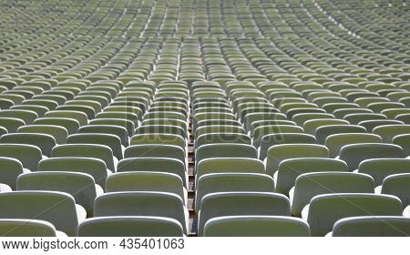 Many Green Seats In A Sports Facility Without People
