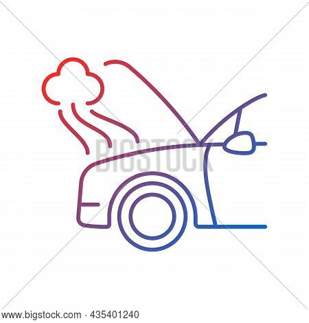 Car Engine Damage Gradient Linear Vector Icon. Front End Collision. Mechanical Breakdown. Broken Tra