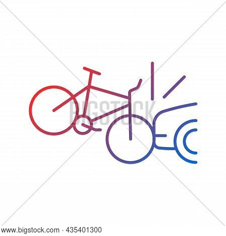 Car Collision With Cyclist Gradient Linear Vector Icon. Accident With Bicyclist And Driver. Car-on-b
