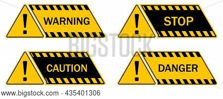 Black And Yellow Danger Warning Sign. Caution Icon. Hazard Stikcers With Exclamation Mark, Attention