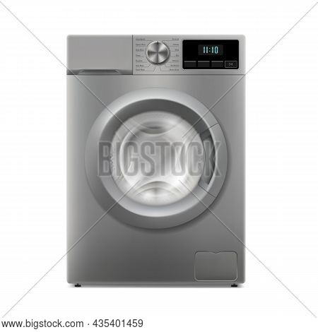 Washing Machine Isolated On White Background. Front View, Close-up. Realistic Domestic Electronic De