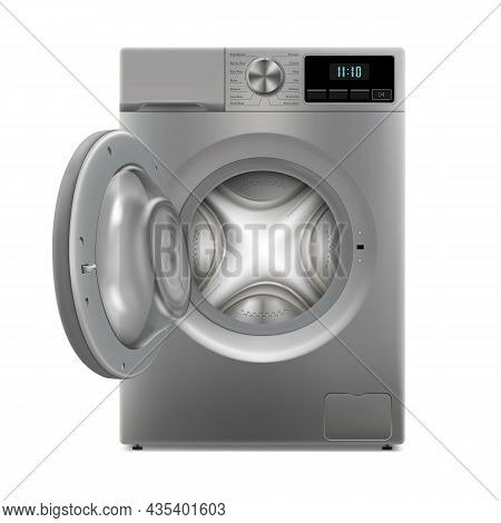 Washing Machine Isolated On White Background. Front View, Close-up. 3d Realistic Washing Machine. Th