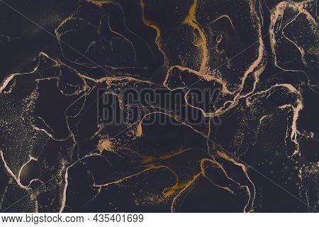 Abstract Hand Painted Alcohol Ink Texture. Black And Golden Colors. Creative Background For Your Des