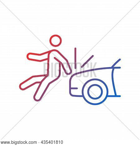 Collision Involving Pedestrian Gradient Linear Vector Icon. Hitting Walker By Car. Hit-and-run Accid