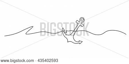 Continuous Single Line Anchor In Sea, Line Art Vector Illustration