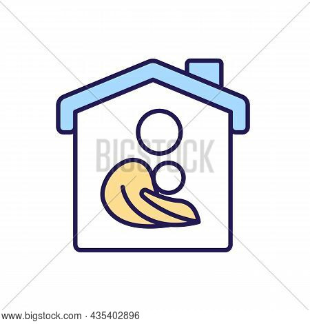 Family Rgb Color Icon. Parental Care And Control. Family Members At Home. House Protection And Secur