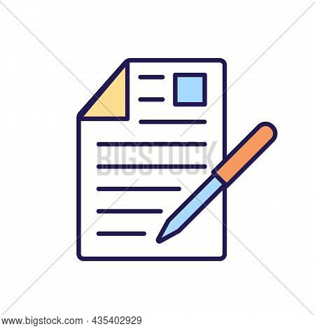 Document Signing Rgb Color Icon. Certificate And Permission. Fine And Penalty In Case Of Agreement V