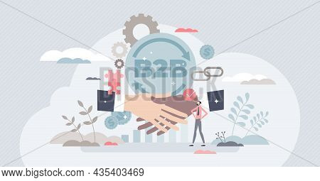 B2b Business Model Concept, Tiny Person Vector Illustration. Commercial Transactions Between Busines