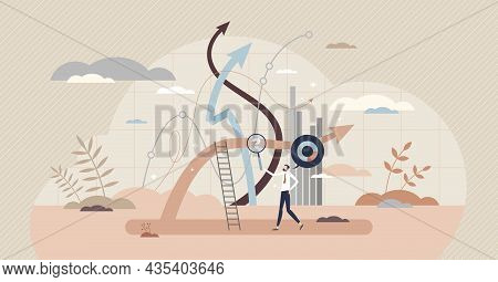 Analyst Working With Statistics Concept, Tiny Person Vector Illustration. Business Data Research Pro