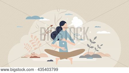 Breathe In Air As Healthy Mindfulness Practice For Calm Tiny Person Concept. Meditation With Easy Br