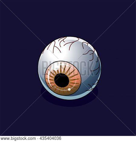 Orange Creepy Eyeball On A Dark Background. Isometric Icon. Design Element For Halloween And Horror