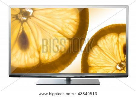 tv with fruit on screen
