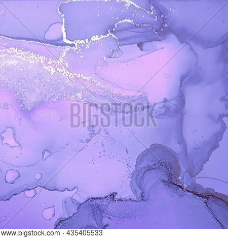 Purple Liquid Paint Waves. Metallic Gray Acrylic Art Background. Abstract Marble Design. Modern Liqu