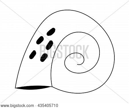 A Shell Painted In The Style Of A Doodle. A Shell With A Black Outline, A Clam House Icon. Snail Hou