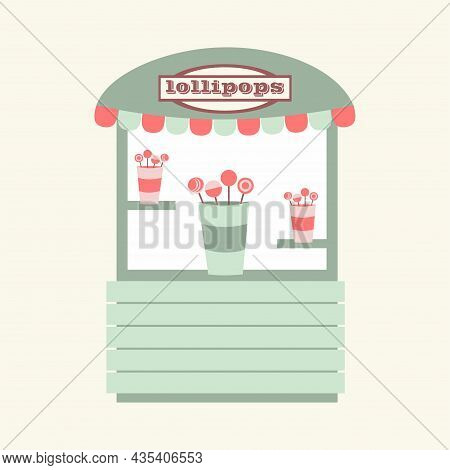 : Stall Counters. Street Counter Selling Lollipops. Street Food, Candy Store. Modern Simple Flat Vec