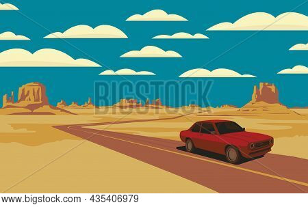 Decorative Landscape With A Road And A Single Passing Car In The Desert With Rocks And Clouds In Blu