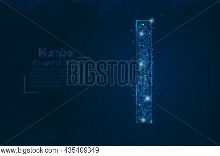 Abstract Isolated Blue Image Of A Number One. Polygonal Illustration Looks Like Stars In The Blask N