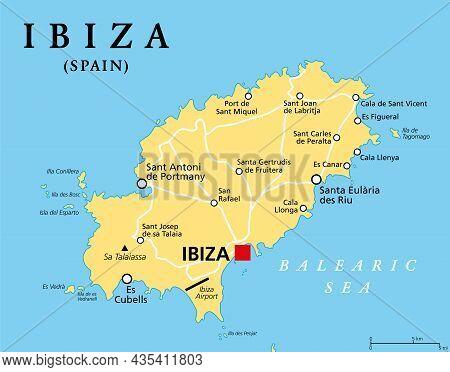 Ibiza, Political Map. Part Of The Balearic Islands, An Archipelago And Autonomous Community Of Spain
