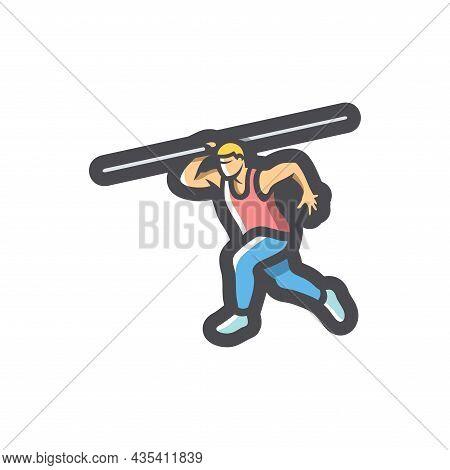 Javelin Thrower Athlete Vector Icon Cartoon Illustration