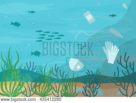 Unclean Water, Sea Pollution, Underwater Trash And Waste. Plastic Waste, Bottles, Used Mask And Glov