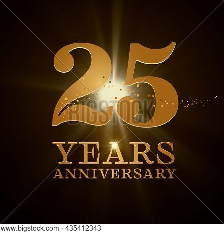 25 Years Anniversary Celebration Vector Icon, Logo. Design Element With Gold Color Age