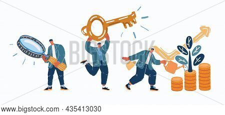 Vector Illustration Of A Man Seeks Up On A Paper Plane, Achieving A Goal, The Path To Success Is Mot