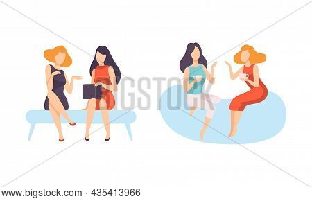 Female Friend Spending Time Together Sitting And Gossiping Vector Set