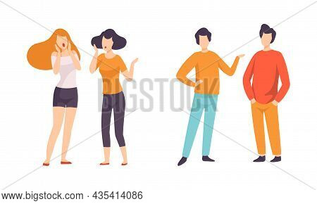 Male And Female Friend Spending Time Together Standing And Gossiping Vector Set
