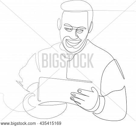 Close-up Portrait Of Happy Devoted Young Worker With Helmet Under Armpit Using Tablet. Vector Illust