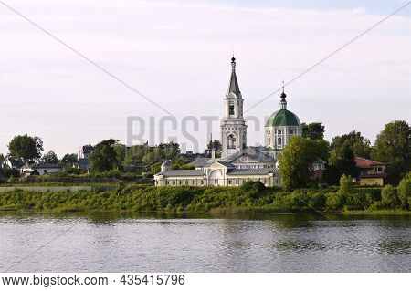 St. Catherine's Convent. Russia, The City Tver. View Of The Monastery From The Volga River. Summer D
