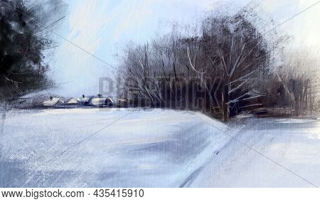 Winter Landscape With Forest And The Village.  Oil Painting.  Hand-drawn Illustration. Hand-drawn Il