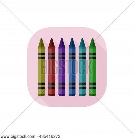 Vector Flat Design Icon Wax Crayons. Vector Illustration.