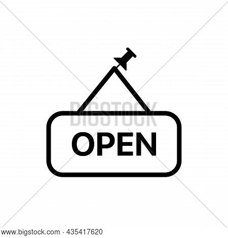 Open Plate, Board With Pin Icon . Simple Thin Outline. Shop, Hotel Door Or Window Label. Trendy Flat